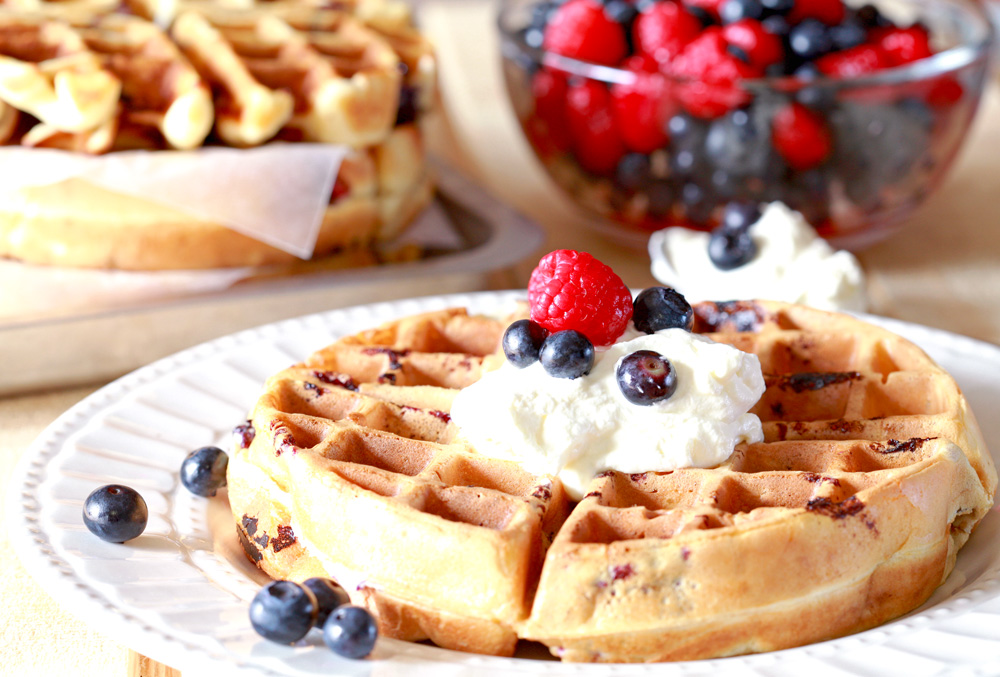 Blueberry Belgian Waffles with Whipped Cream