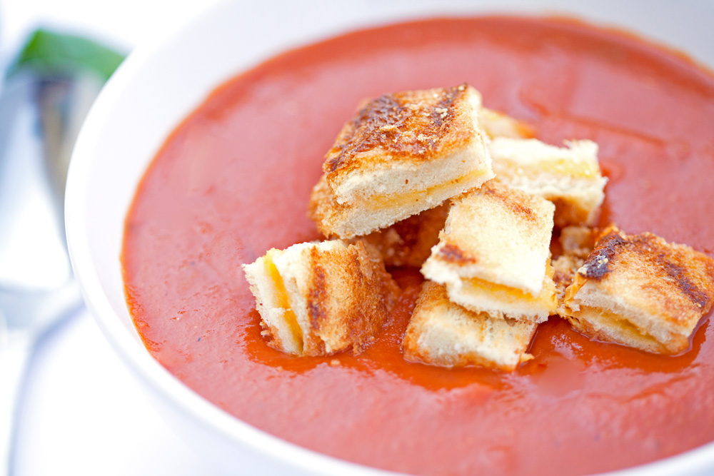 Tomato-Orange Soup With Grilled Cheese Croutons Recipes — Dishmaps