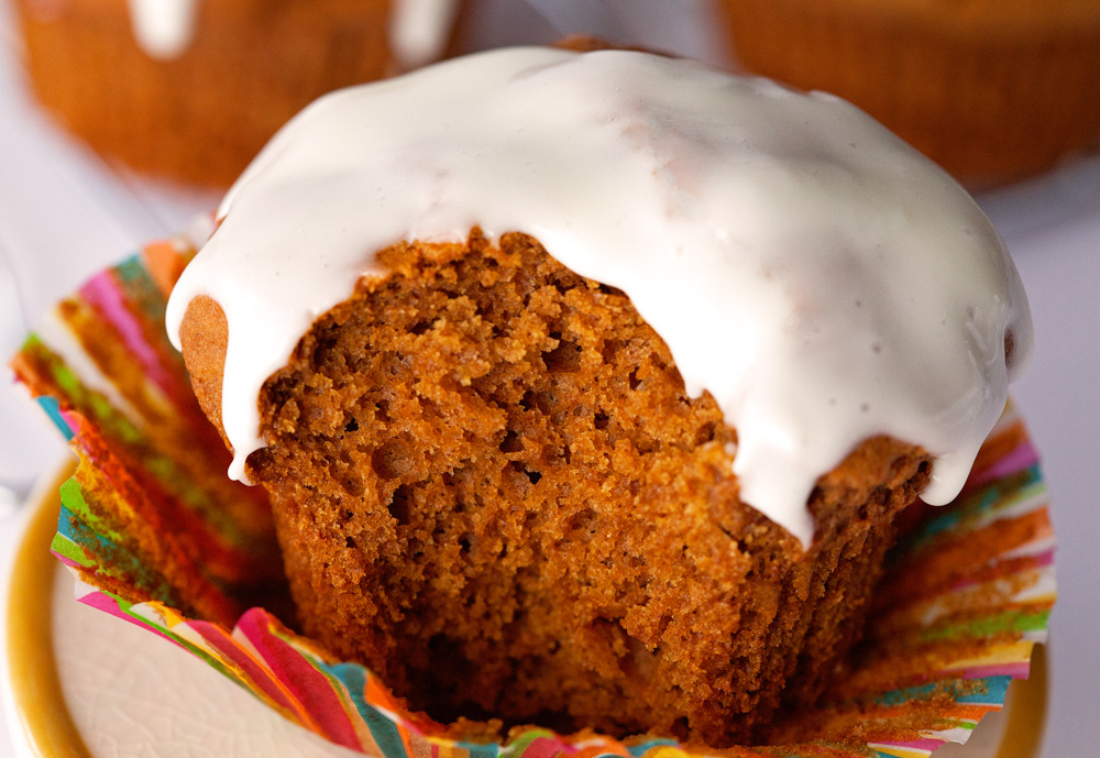 Glazed Gingerbread Muffins by Deliciously Yum!