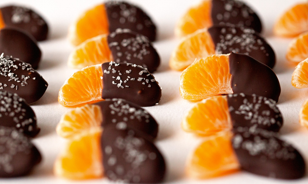 Chocolate Dipped Mandarin Slices Topped with Sea Salt by Deliciously Yum!