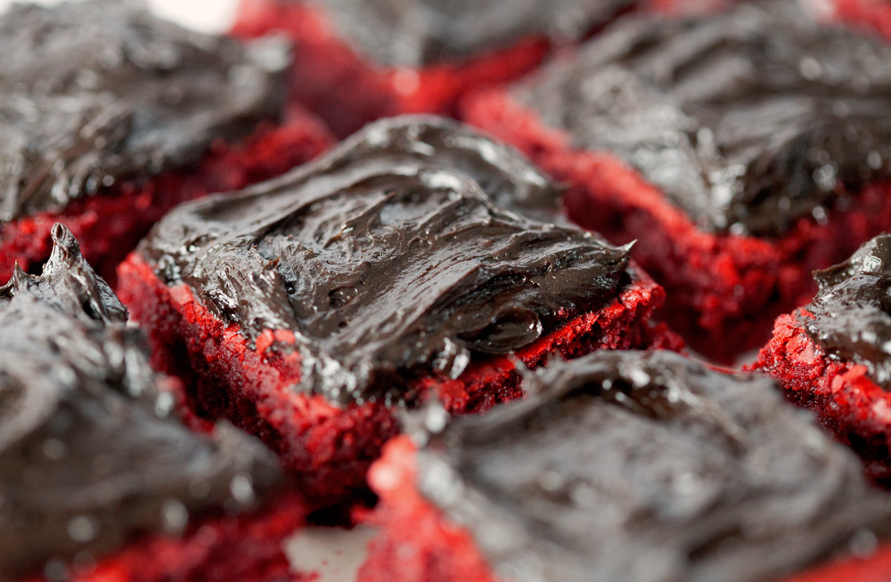 Red Velvet Brownies with Chocolate Lovers' Frosting