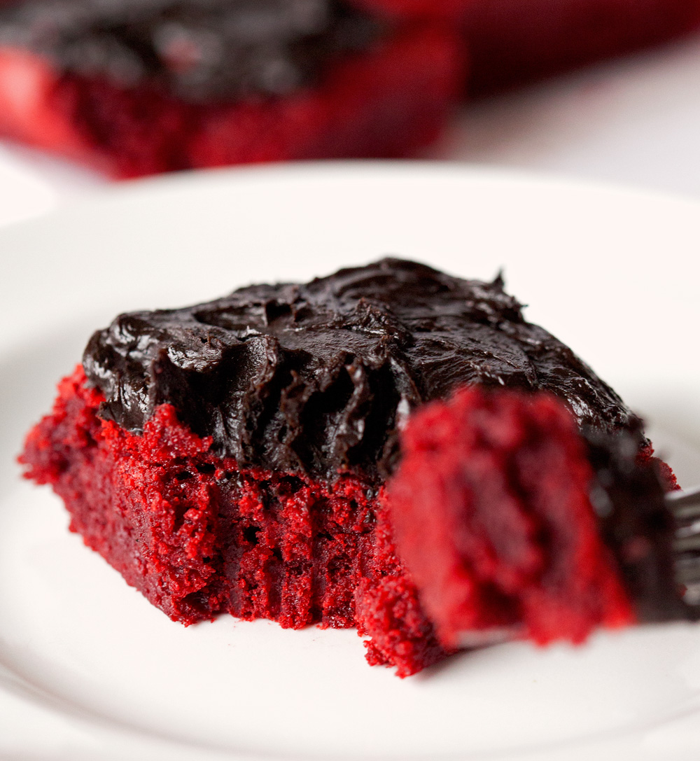 Red Velvet Brownies with Chocolate Lovers' Frosting by Deliciously Yum!
