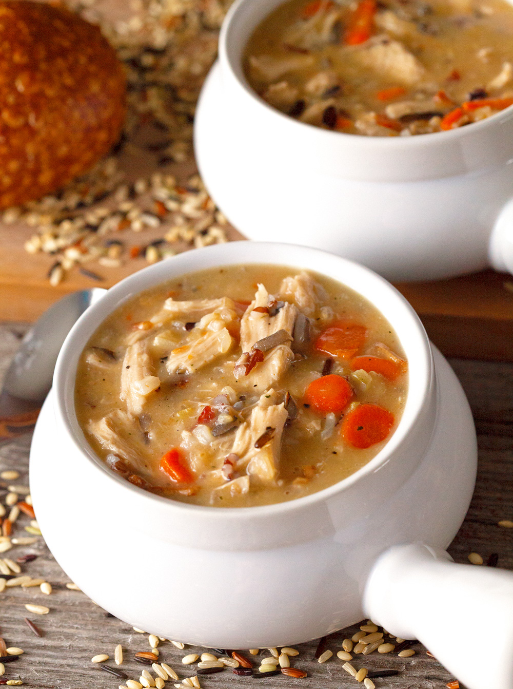 Chicken And Bacon Wild Rice Soup by Deliciously Yum!