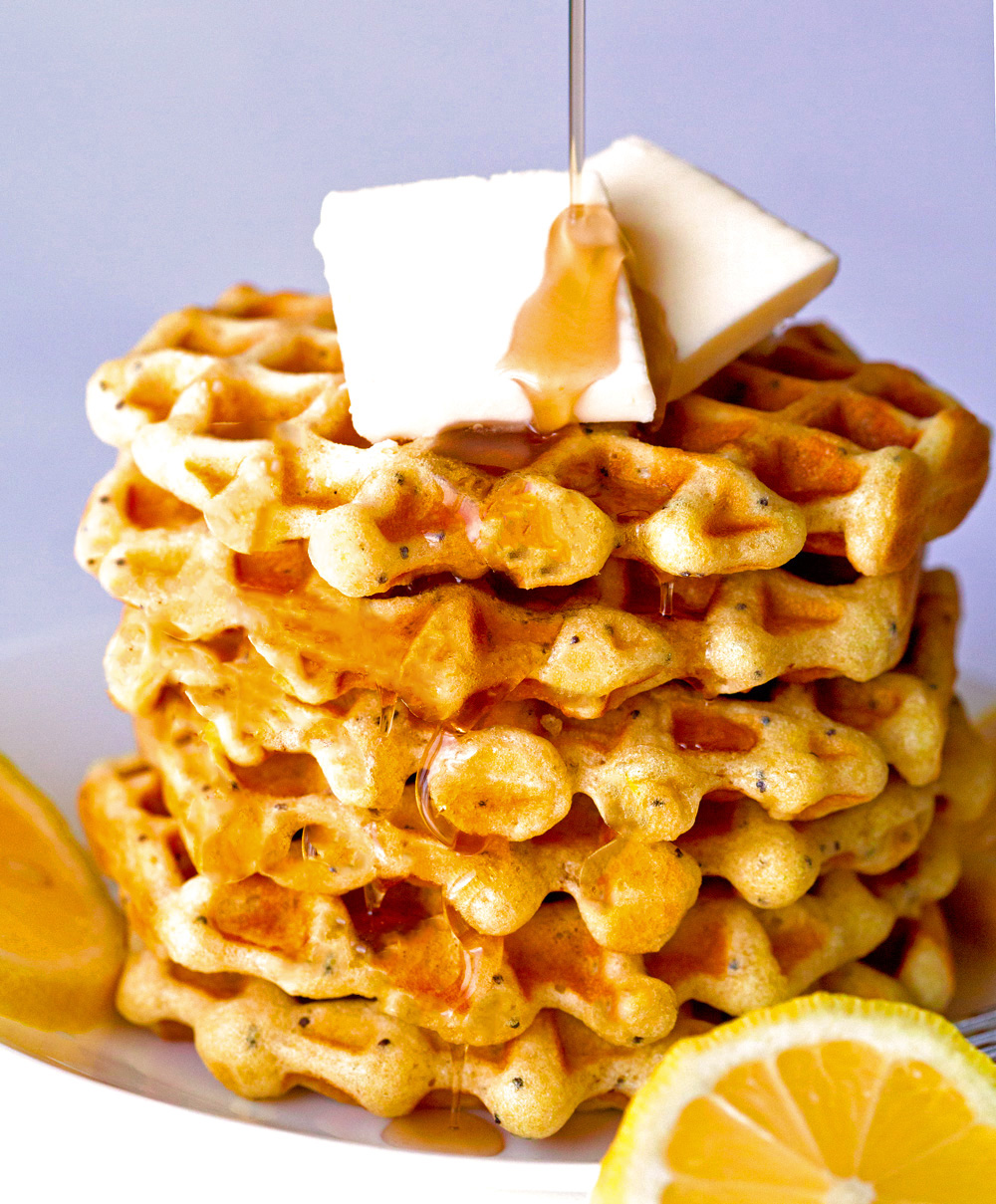 Lemon Poppyseed Waffles by Deliciously Yum!