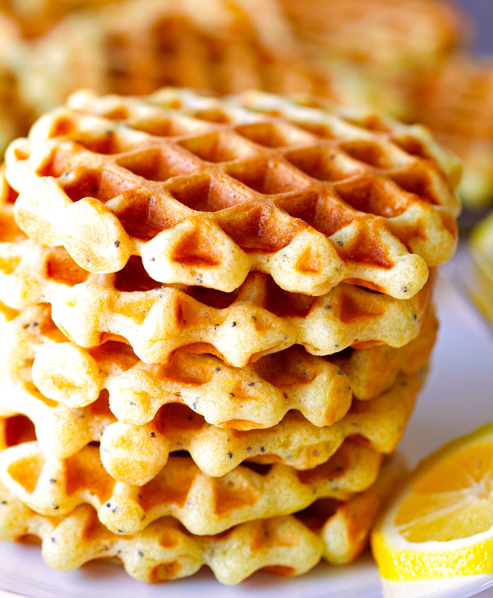 Lemon Poppyseed Waffles via Deliciously Yum!
