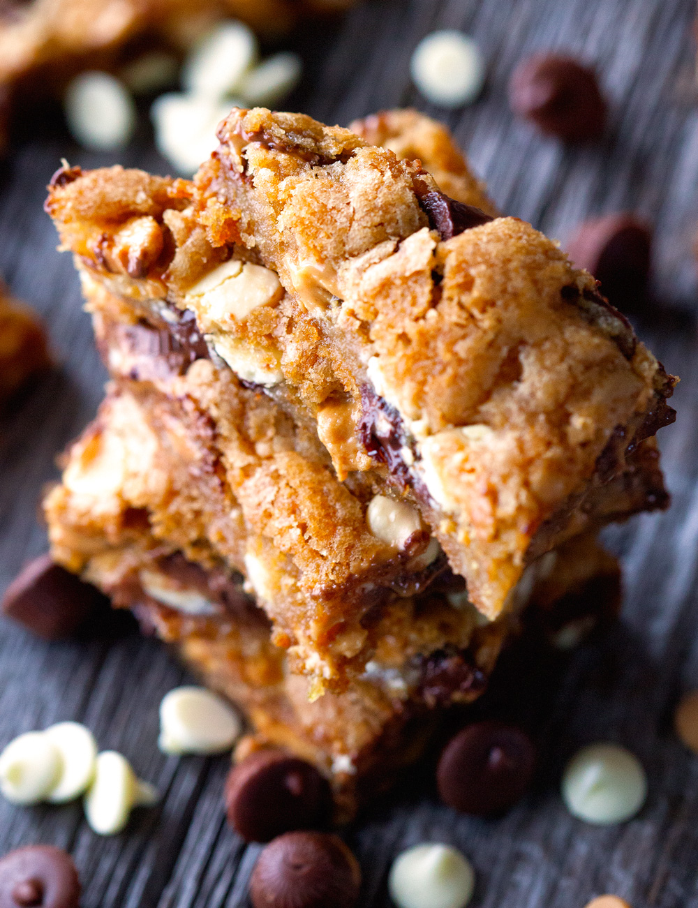 Loaded Quadruple Chip Cookie Bars via Deliciously Yum!