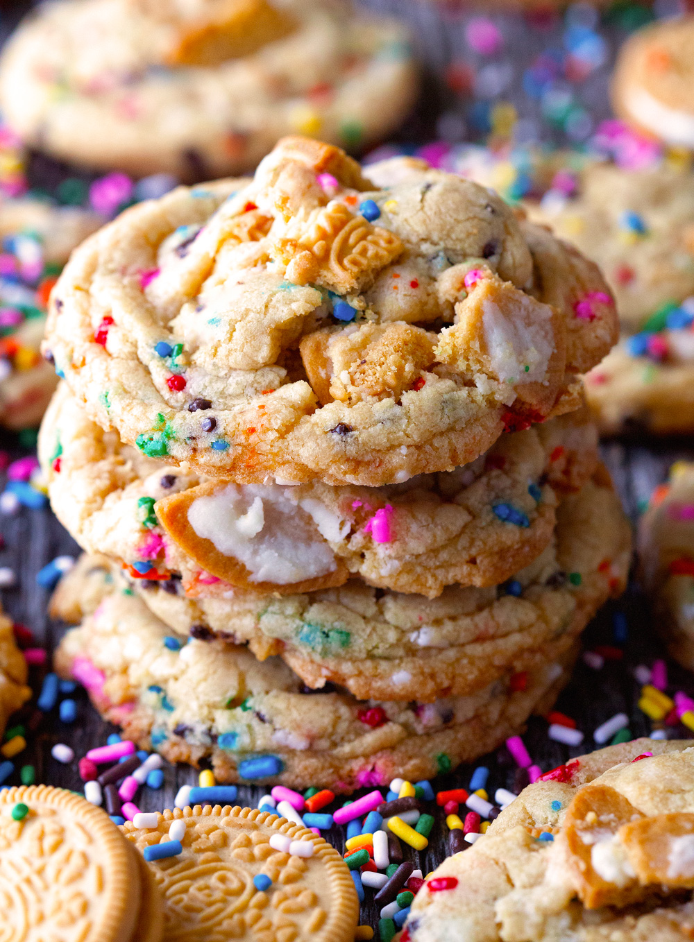 Cake Batter Golden Oreo Rainbow Cookies via Deliciously Yum!