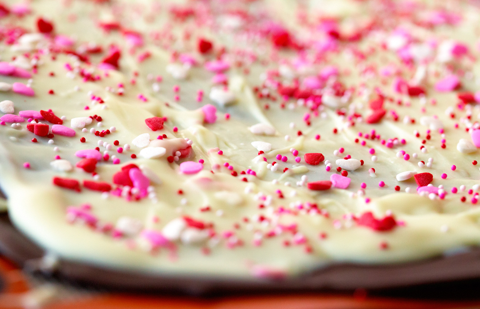 Cake Batter Valentine's Bark by Deliciously Yum!