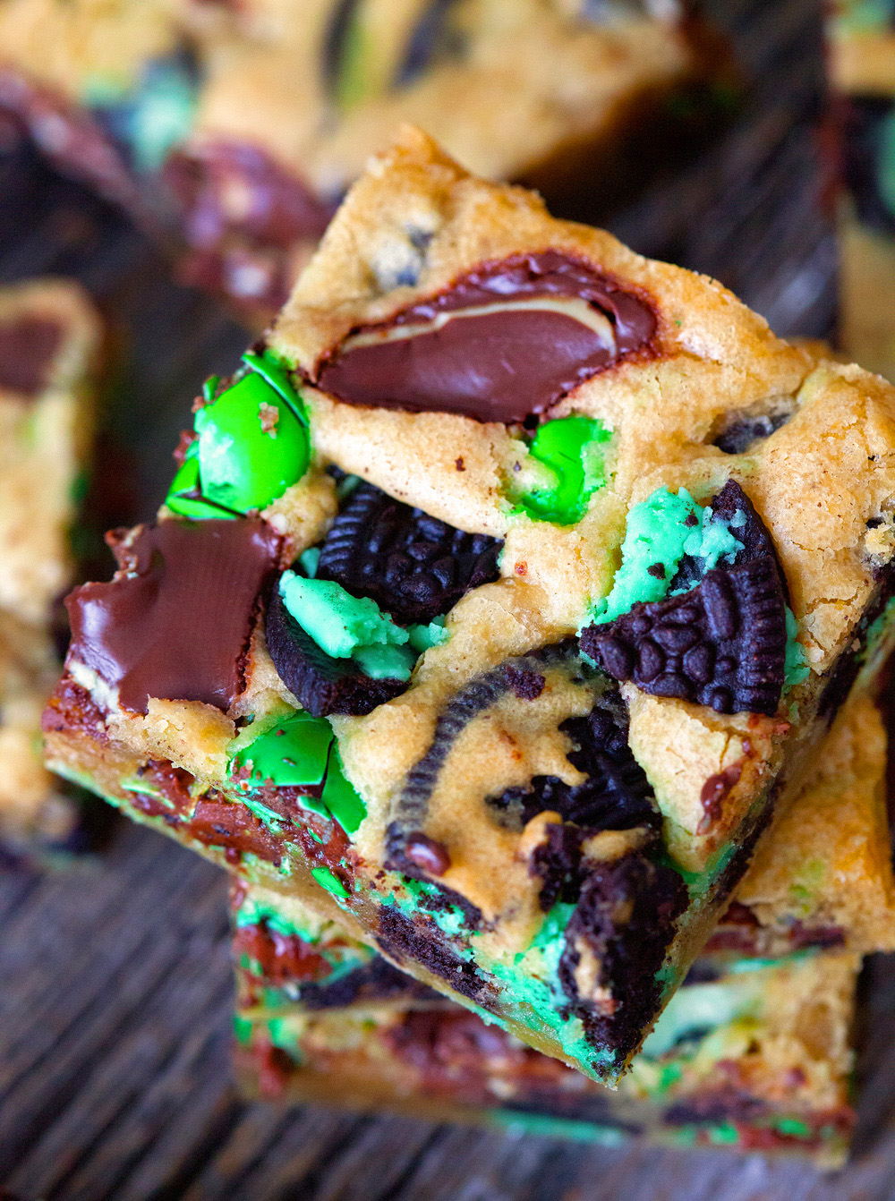 No-Fail Triple Chocolate and Mint Blondies via Deliciously Yum!