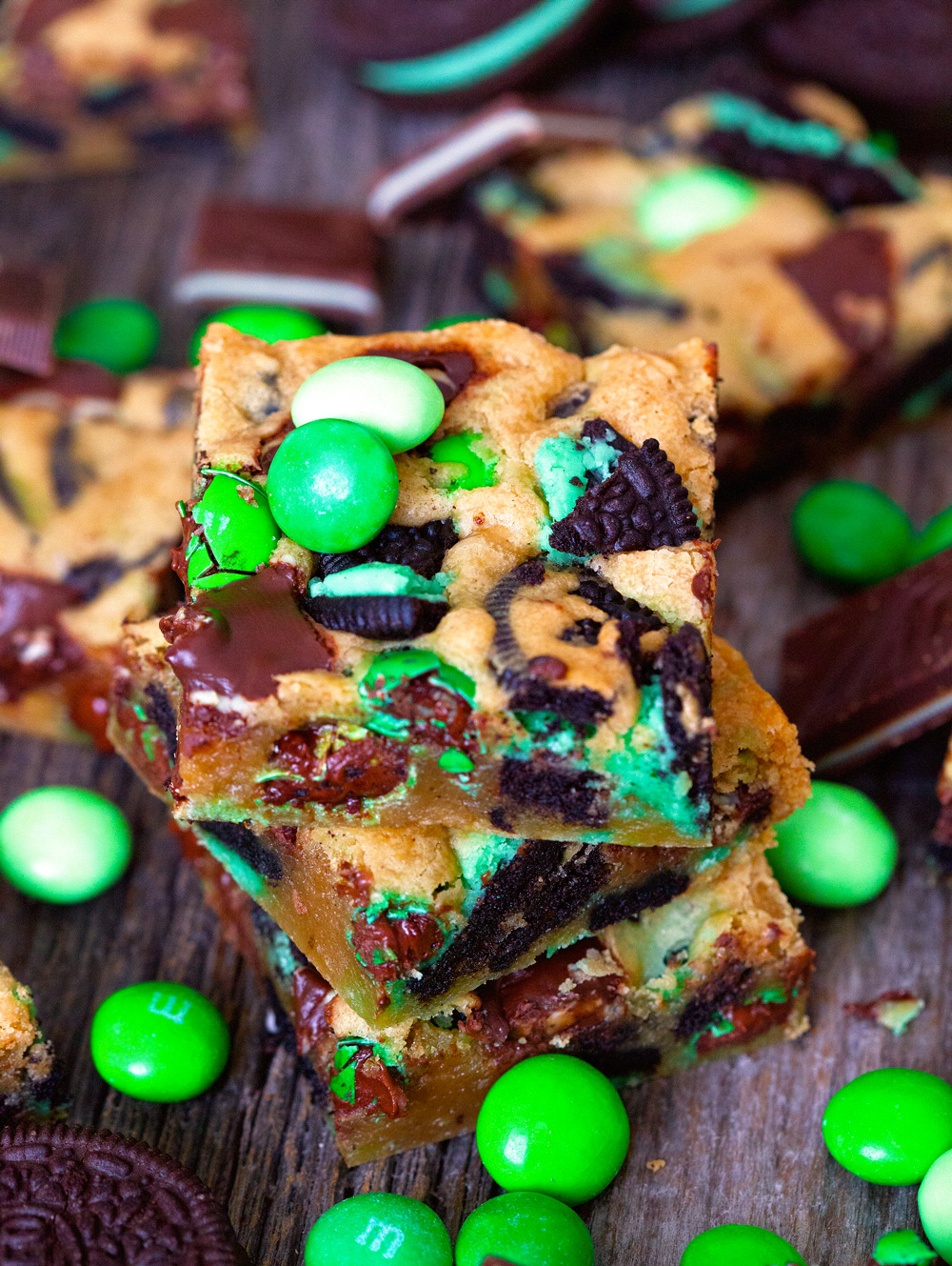 No-Fail Triple Chocolate and Mint Blondies by Deliciously Yum!