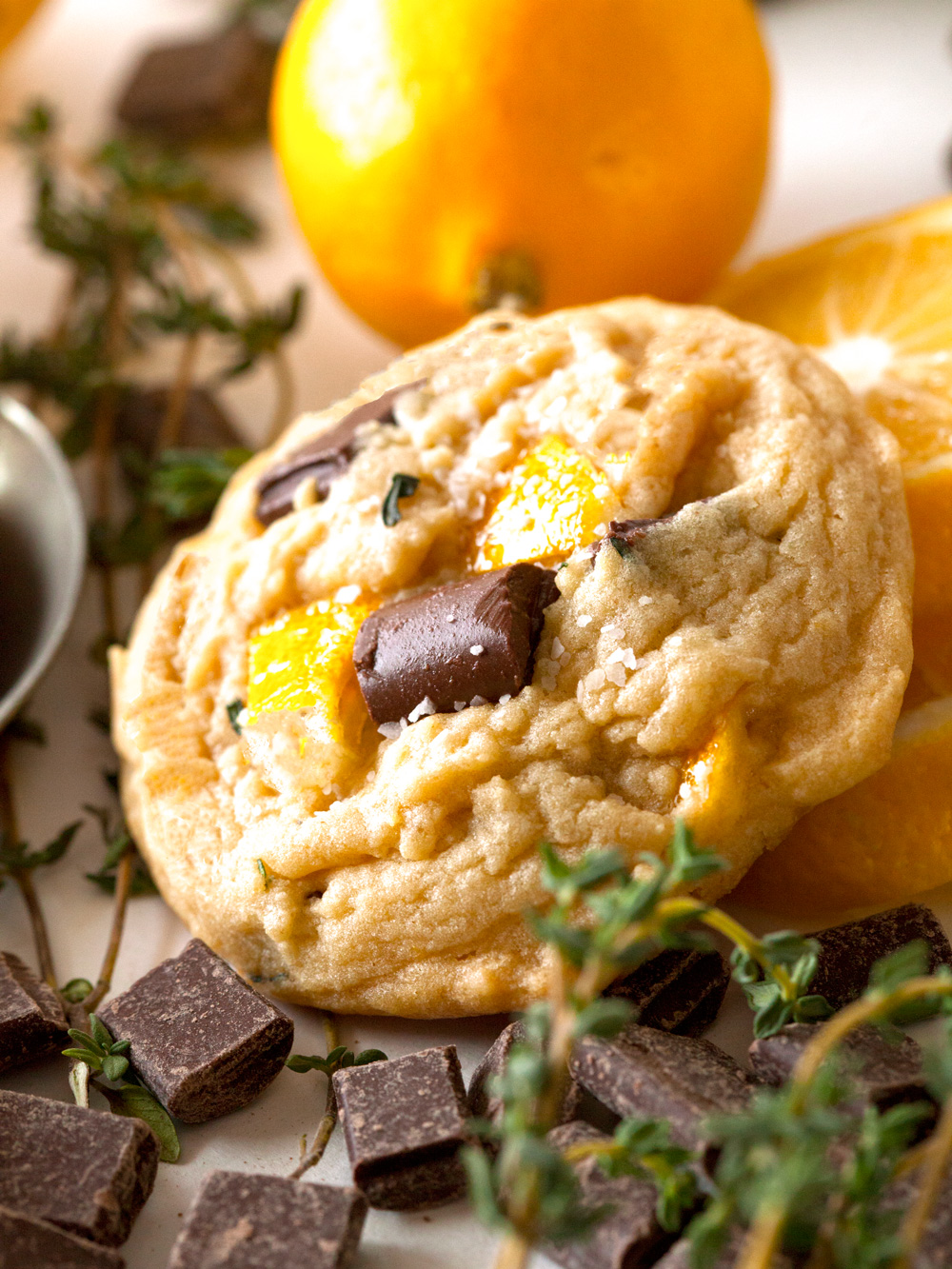 Candied Meyer Lemon and Thyme Salted Chocolate Chippers via Deliciously Yum!