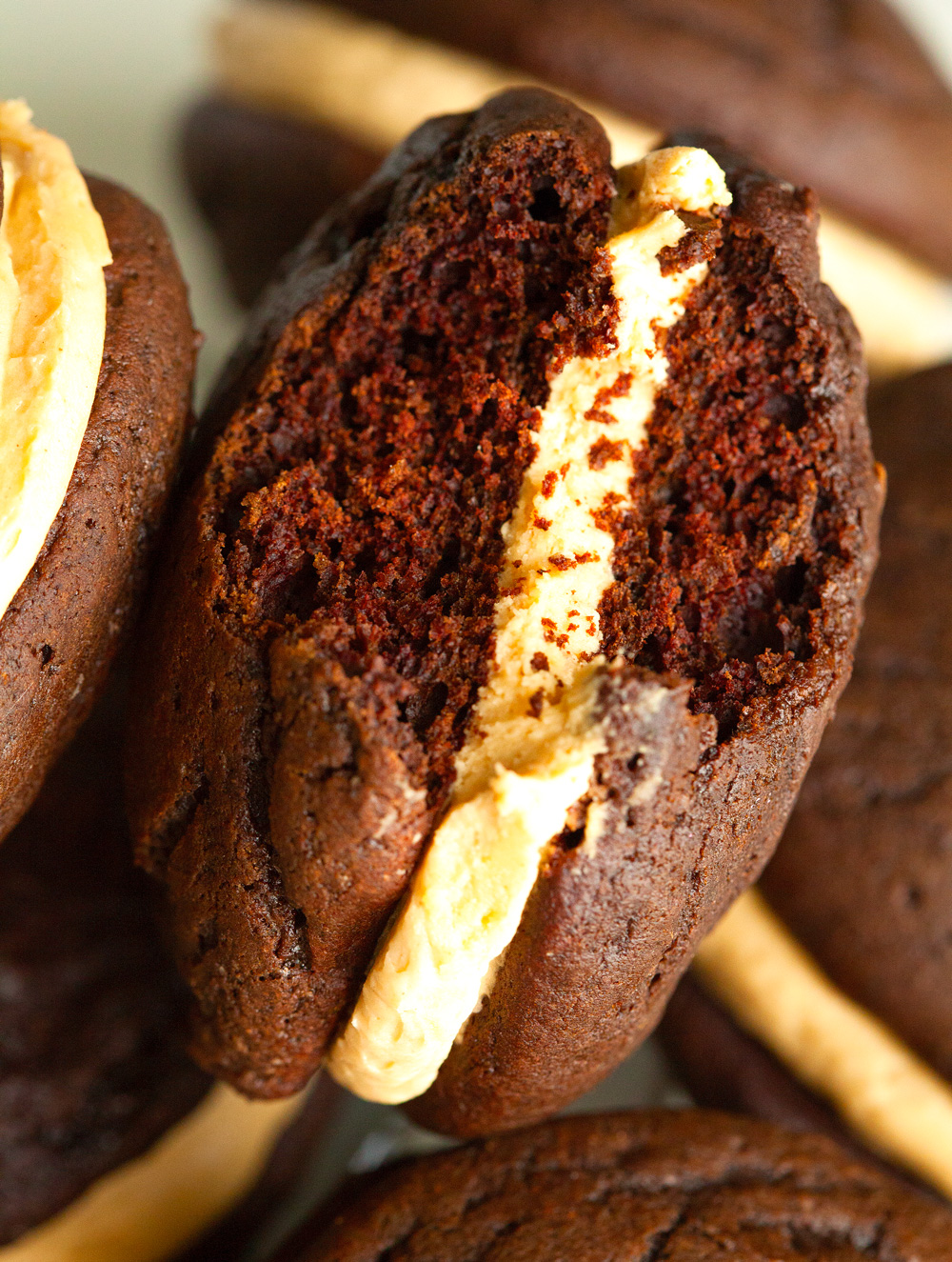 Chocolate Peanut Butter Whoopie Pies by Deliciously Yum!