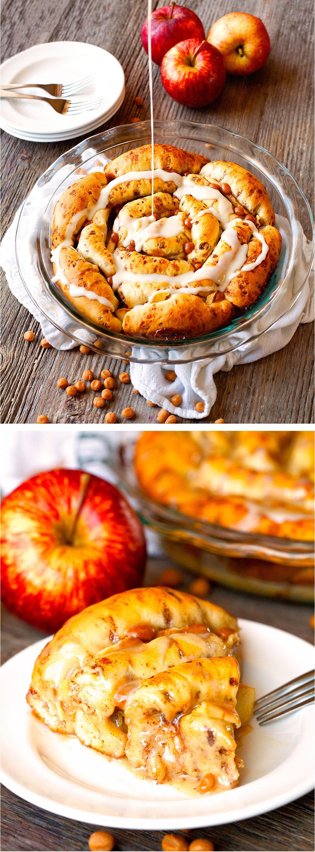 caramel-apple-cinnamon-roll-pie