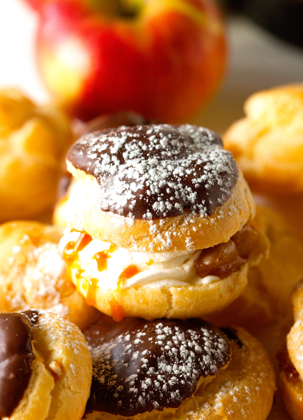 Autumn's Delight Chocolate Dipped Profiteroles via Deliciously Yum!