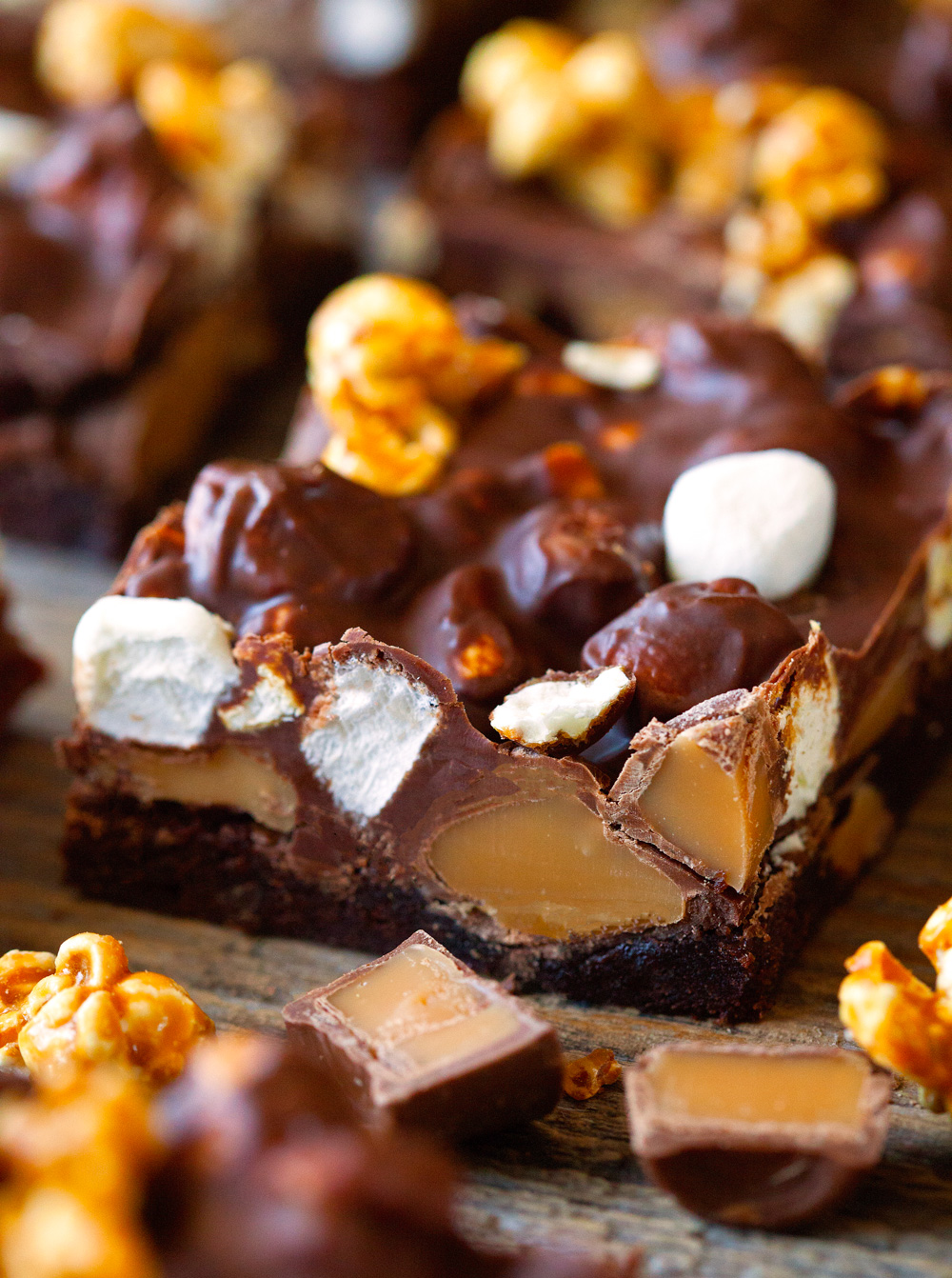 Chewy Caramel Popcorn Brownies via Deliciously Yum