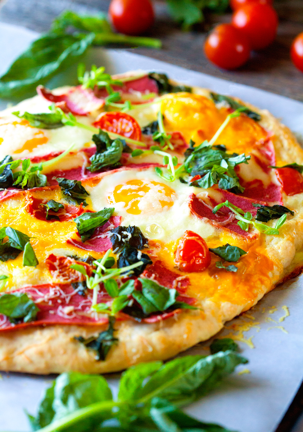 Bacon Egg and Veggie Breakfast Pizza