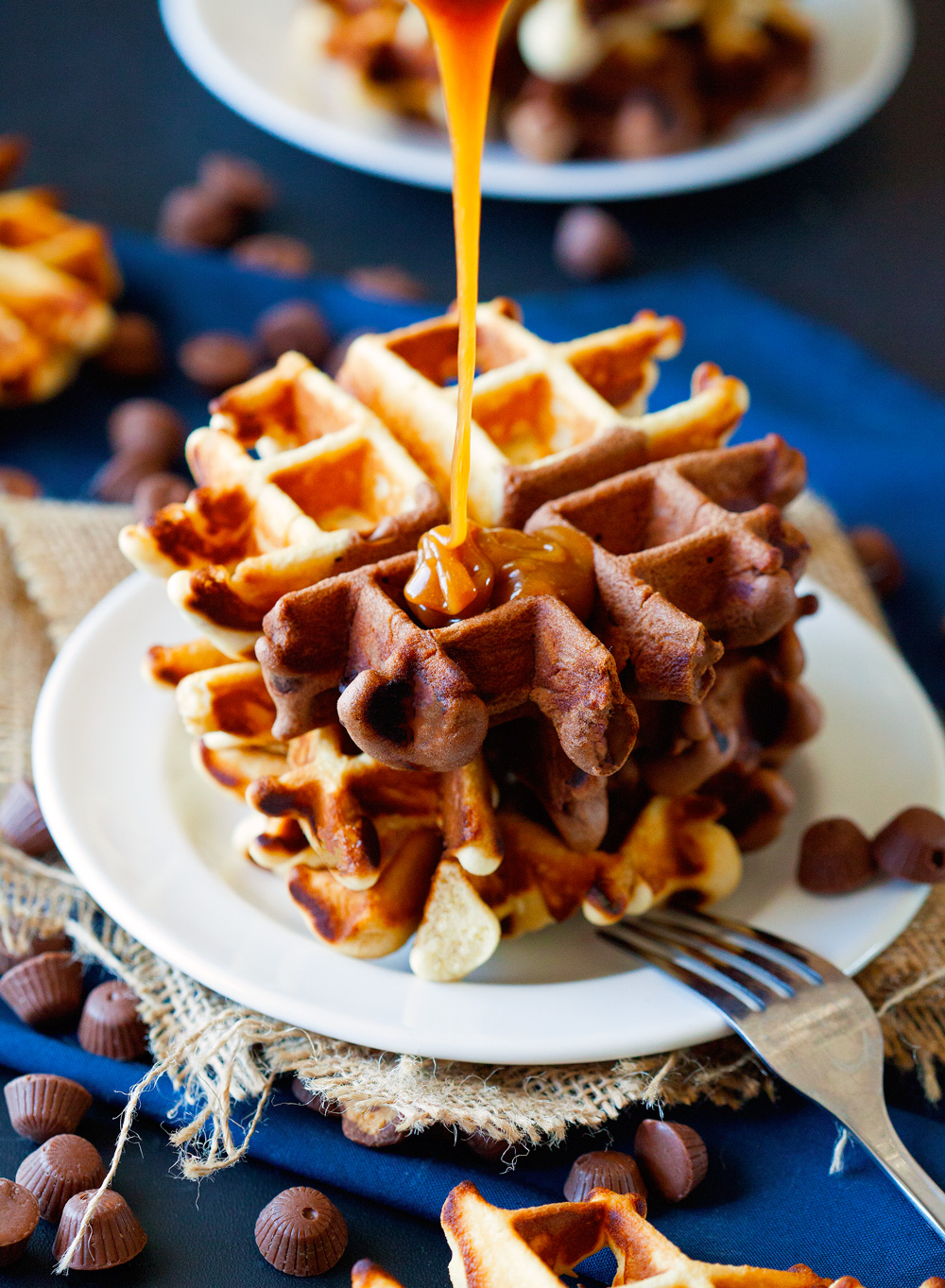 Peanut Butter Cup Doughnut Waffles by Deliciously Yum