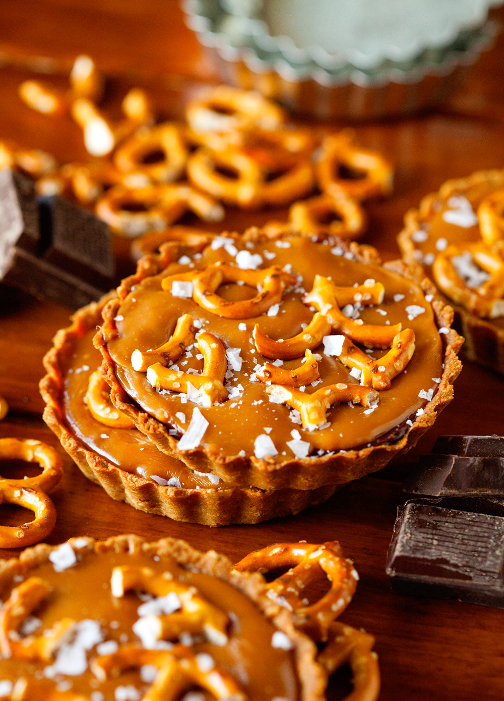 Chocolate Caramel Mini Tarts with Pretzel Crust