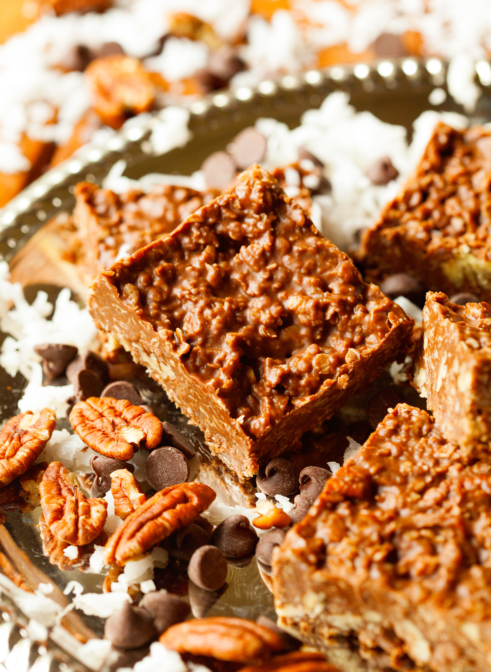 No-Bake Chocolate Peanut Butter Coconut Bars