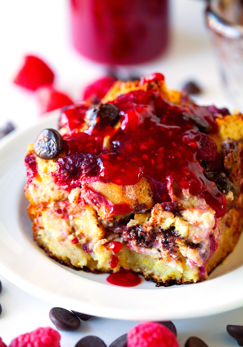 Dark Chocolate Raspberry French Toast Casserole