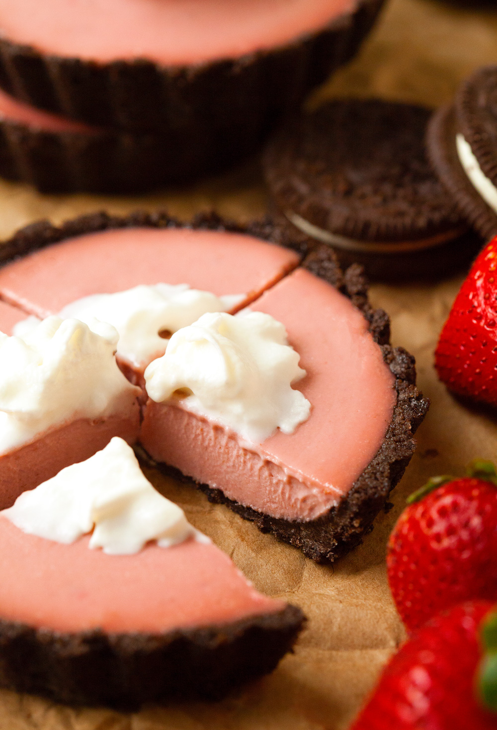 Vegan Chocolate Covered Strawberry Cheesecakes