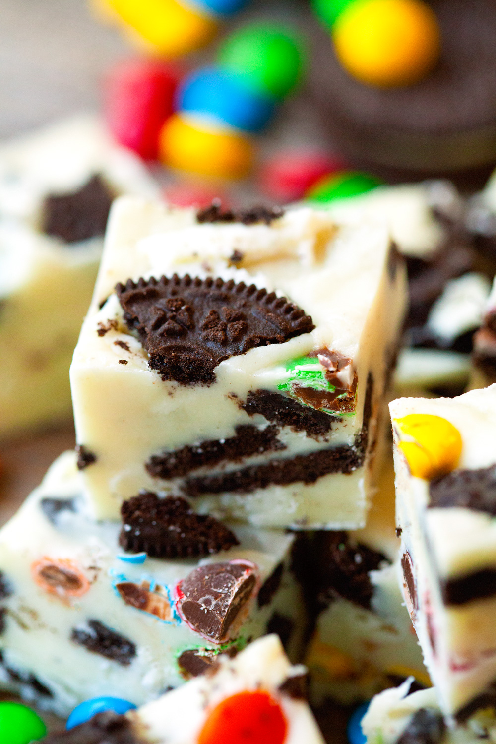Loaded M&M Oreo White Chocolate Fudge