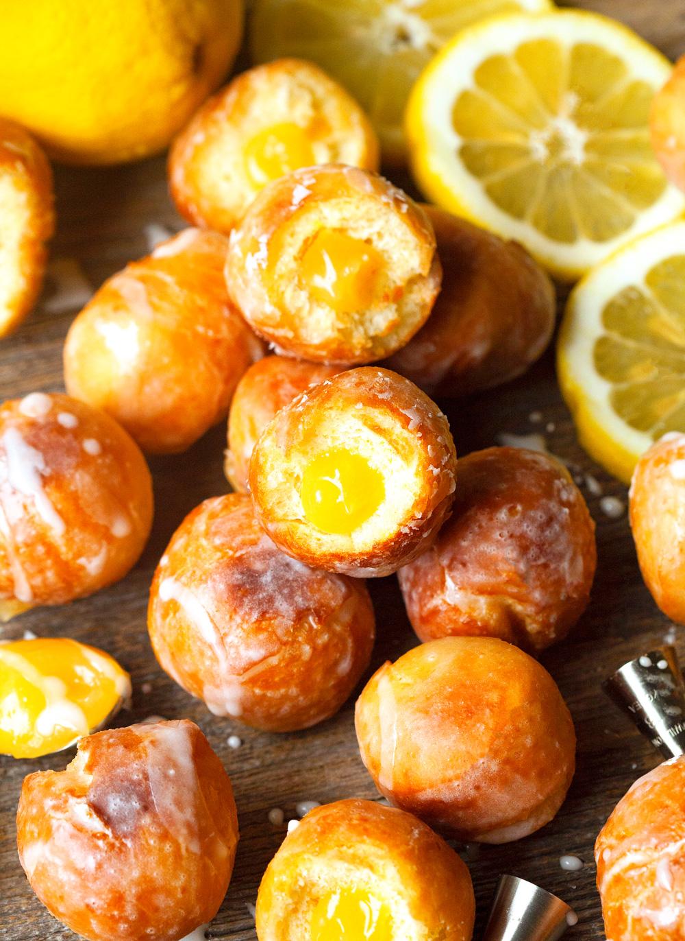Glazed Lemon Curd Donut Holes