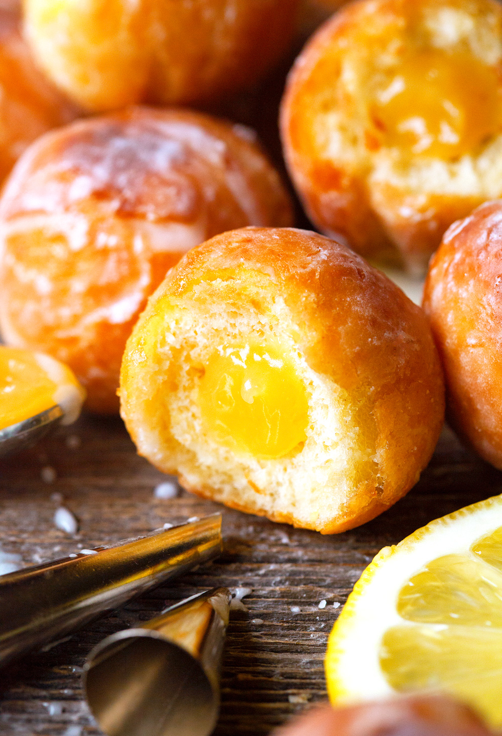 Glazed Lemon Curd Donut Holes